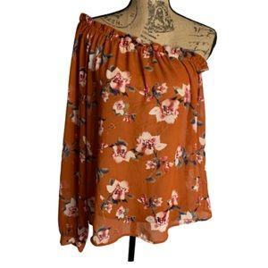 Ro&De silky orange floral off shoulder blouse top